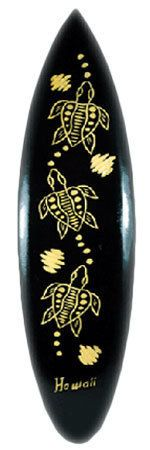 Aloha Hawaii Miniature 16 Inch Surfboard Dark Wood Carved Honu Turtle Wall Sign         Miniature Wood carved Surfboard sign measures 16 Inches long will be perfect to add to a beach-themed room or lend a whimsical touch to any tropical home decor, tiki bar, or tropical themed restaurant. These surfboards are unique from all others you will find and are from an exlusive local supplier from right here in Hawaii. $14.95