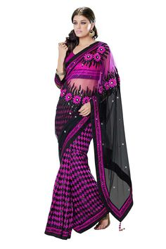 Buy Pink Chiffon Party Wear Saree Online in low price at Variation. Huge collection of Party Wear Sarees for Party, Festivals, Engagements and Ceremonies. #party #partywearsarees #sarees #onlineshopping #latest #lowprice #variation. To see more - https://www.variationfashion.com/collections/party-wear-sarees