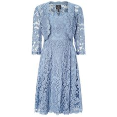 Adrianna Papell Fit And Flare Dress With Lace Bolero, Dusty Blue