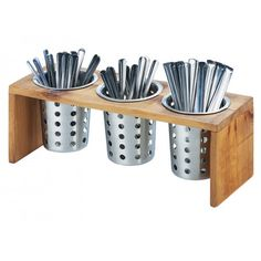 Madera 3 Compartment Organizer Item: 1425-3-99 This Madera 3 Compartment Organizer is perfect to use at your coffee shop, restaurant, buffet, and more! The unit holds three cylinders (sold separately) that are perfect for holding flatware or condiments for coffee!