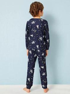 Boys Space Print PJ Set – Agodeal Satin Pj Set, Sleepwear & Loungewear, Pj Sets, Spandex Material, Pajama Set, Lounge Wear, Long Sleeve, Casual, Sleeves