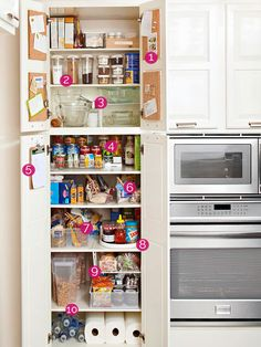 How To Organize a Pantry - great ideas for organizing the supplies in your pantry - on a budget. There are also tips for working with wire shelving.