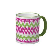 Hot Pink Green Tribal Chevron Pattern Mug SOLD on Zazzle