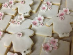 Baby shower pink and white cookies