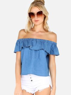 Online shopping for Denim Blue Off The Shoulder Flounce Front Blouse from a great selection of women's fashion clothing & more at MakeMeChic.COM.