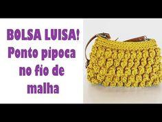 BOLSA LUISA DE CROCHÊ - ponto pipoca no fio de malha! - YouTube Crochet Simple, Love Crochet, Knit Crochet, Crotchet Bags, Knitted Bags, Crochet Handbags, Crochet Purses, Purse Patterns, Crochet Patterns