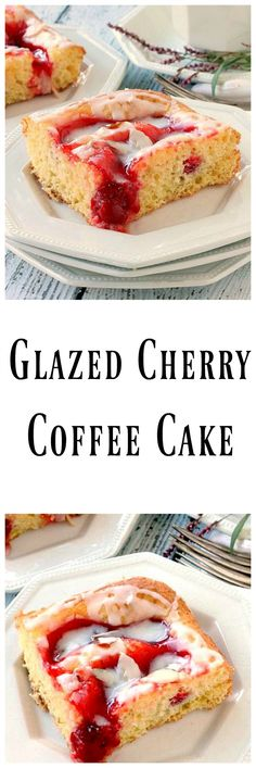 Glazed Cherry Coffee Cake is made with a cake mix and cherry pie filling. It's moist, soft and full of cherry flavor. The perfect easy treat!