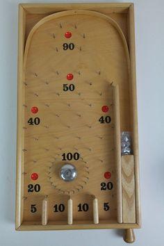 Vintage Dehor Tivoli 2 New in Box Czechoslovakia Wood RARE Pinball Marble Game Wooden Board Games, Wood Games, Woodworking Toys, Woodworking Projects, Boy Party Games, Marble Games, Wooden Car, Homemade Toys, Diy Games