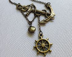 Bronze Anchor Necklace, Pyrite Gemstone, Ship Wheel Charm, Sideway Anchor, Anchor Jewelry, Navigation Necklace, Cruise Necklace, By The Sea