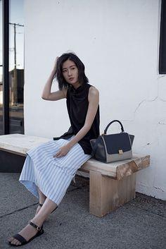 Bag: von vogue blogger striped skirt minimalist leather black top draped top
