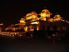 Night-view of Grand Taj Rambagh Palace Hotel, Jaipur, Rajasthan, India,