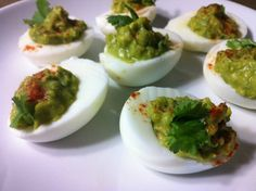 Paleo Avocado Deviled Eggs // via Tina T. at Oh Snap! Let's Eat!oh god yes! Avocado Deviled Eggs, Deviled Eggs Recipe, Paleo Recipes, Whole Food Recipes, Cooking Recipes, Sin Gluten, Gluten Free, Cilantro, Thanksgiving Recipes