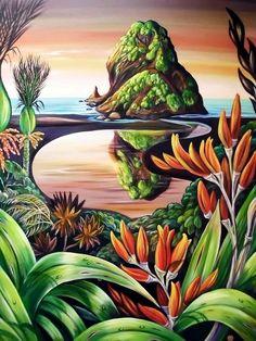"""""""After the rain"""" Garden Mural, New Zealand Art, Nz Art, Maori Art, Cool Paintings, Art Festival, Landscape Art, Art And Architecture, Flower Art"""