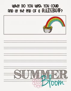 St. Patrick's Day Work on Writing FREEBIE ~ Summer Bloom