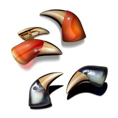 Toucan cufflinks by Vhernier. The glossy finish of the toucans was achieved by layering rock crystal over mother-of-pearl and carnelian rose gold beak and diamond eyes Coral Jewelry, Sea Glass Jewelry, Silver Jewelry, Designer Jewelry Brands, Der Gentleman, Diamond Eyes, Brighton Jewelry, Custom Jewelry Design, Delicate Jewelry