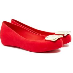 Vivienne Westwood for Melissa Ultragirl Red Flocked Plaque Flats ($72) ❤ liked on Polyvore featuring shoes, flats, red, peep-toe shoes, slip-on shoes, flat peep-toe shoes, red peep toe flats and slip on shoes