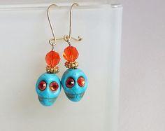 Halloween Skull Earrings. Turquoise Orange by TwoCloudsJewelry, $39.00
