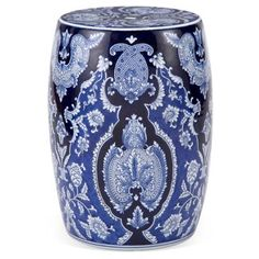 Check out this item at One Kings Lane! Harper Garden Stool, Navy/White