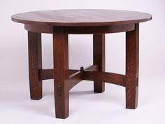 Gustav Stickley Fixed-Top Dining Table. Unsigned. Refinished. 46″d x 30″h