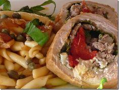 Pasta with Pork Braciole  (Strozzapreti) http://www.lindasitaliantable.com/how-to-stuff-a-pigbraciole-di-maiale/