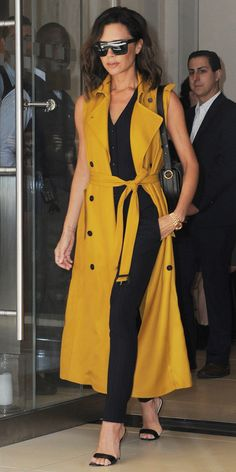 Celebrity Workwear Inspo to Up Your Office Fashion - MONDAY: Vest Suit + Sleeveless Trench from InStyle.com