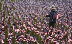 A boy walks among some of the flags placed in memory of the lives lost in the September 2001 attacks, at a park in Winnetka, Illinois, September REUTERS/Jim Young 9 11 Anniversary, Al Jazeera, Russia News, Picture Editor, Health Programs, Pictures Of The Week, Rally Car, American Pride, S Pic