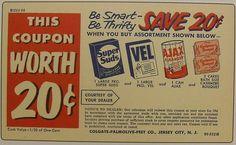 1950s Vintage AJAX Colgate Palmolive Vel Detergent Advertisement Postcard Coupon New Jersey
