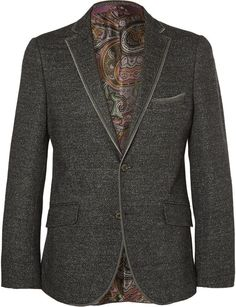 $1,660, Charcoal Wool Blazer: Etro Slim Fit Knitted Wool Silk And Cotton Blend Blazer. Sold by MR PORTER. Click for more info: https://lookastic.com/men/shop_items/292425/redirect