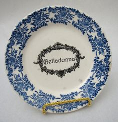 Vintage Belladonna Poison Plate Flow Blue Belladonna apothecary label Dark Shadows