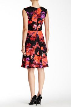Maggy London Cap Sleeve Printed Fit & Flare Dress