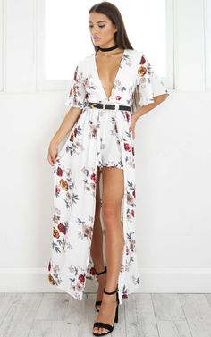 28c14233a812 Showpo Defeater maxi playsuit in white and red print - 14 (XL) Maxi