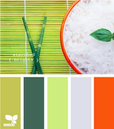 Color Swatches: Starched Tones - Greens with pop of orange.