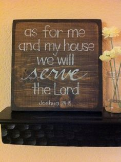 Bible Verse Art - Christian Art - Joshua 24:15 As For Me and My House - 9x9 Wood Block - Easter - Made to Order. $45.00, via Etsy.