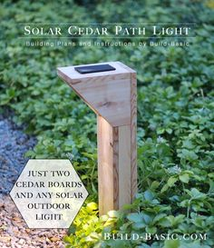 Looking for path light ideas? Look no further than this free DIY plan for an outdoor solar light made with cedar.