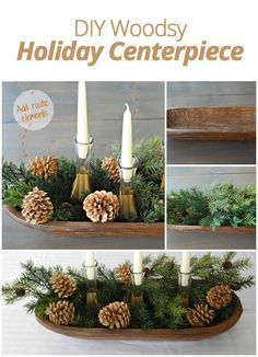 DIY Woodsy Holiday Centerpiece I actually have an antique bread bowl from the late that this would be perfect in. Candle holders just pulled out of the box. Rustic Table Centerpieces, Holiday Centerpieces, Xmas Decorations, Rustic Christmas, Winter Christmas, All Things Christmas, Christmas Holidays, Christmas Projects, Holiday Crafts