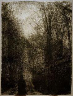 g. seurat. dem weg folgend, 1883, conte-kreide, 31 x 23 cm. sammlung jan krugier und marie-anne krugier-poniatowski. inv.nr. jk 5407.