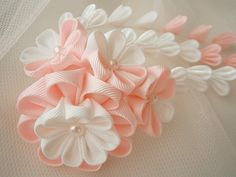 Kanzashi with falls hair comb-japanese oriental -UK hair accessories, shipping worldwide