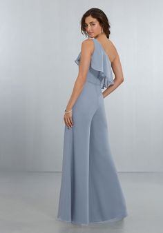 Shop Morilee's Chic Chiffon One Shoulder Jumpsuit with Flounced Neckline. Chic, One-Shoulder Jumpsuit with Wide Legs and Soft Front and Back Flounce, Finished Off with a Back Zipper. View Chiffon Swatch Card for Color Options. Shown in Dove. Elie Saab Couture, City Chic, Mori Lee Bridesmaid Dresses, Tube Top, One Shoulder Bridesmaid, One Shoulder Jumpsuit, Wedding Jumpsuit, Chiffon, Pregnancy Fashion
