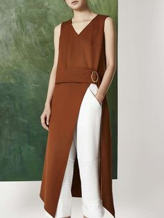 #AdoreWe #StyleWe Tunics - Designer SURESONG Brown Sleeveless Slit Casual V Neck High Split Solid Tunic - AdoreWe.com