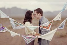 A very rustic garland where the handkerchiefs are simply tied together.