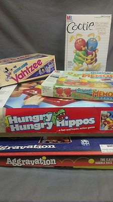5 Lot Vintage Family Board Games Aggravation Cootie Memory Yahtzee Hungry Hippos | eBay