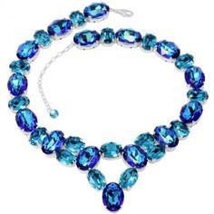 Poze Oval Oana Colier 14-18mm cu cristale swarovski albastre