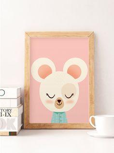 Cute mouse, Little mouse, Scandinavian nursery, Minimalist nursery, Pink nursery, Pink print, Safari print, Wall decor kids, Kids room art