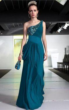 Dark Green A-line Floor-length One Shoulder Dress [Dresses 10147] - $218.00 :