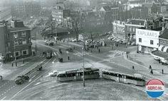 Schiedam: De Koemarkt in 1960. Keerpunt van de tram naar Rotterdam