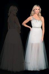 Milano Formals E1554 - Single Strap Beaded Waistband & Sheer Back Dress