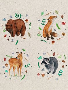 Forest Critters Postcard Set by LUCYbyDESIGN on Etsy