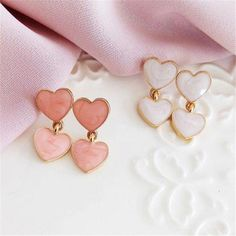 Stud Earrings Drip Heartshaped Earrings Peach Heart Earrings Heartshaped Pendant Fine Jewelry Accessories Earrings Metal Color Pink - The Effective Pictures We Offer You About diy beauty A quality picture can tell you many things. Cute Jewelry, Jewelry Art, Gemstone Jewelry, Jewelry Accessories, Fashion Jewelry, Jewelry Ideas, Heart Jewelry, Style Fashion, Diamond Jewelry