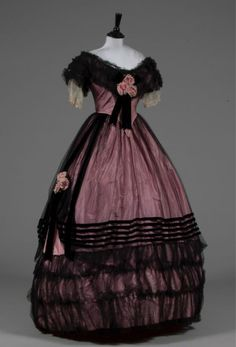 Tulle Overlaid Evening Gown, ca. 1850s  Owned by Mary Holden Illingworth  via Kerry Taylor Auctions