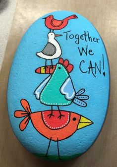 Together we can.  Love the sentiment on this painted rock. Would be lovely in a children's garden or a school. Pebble Painting, Stone Painting, Rock Painting, Rock Paper Scissors, Rocky Road, Kindness Rocks, You Rock, Cute Diys, Rock Crafts